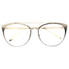 Fiona Metal Flat Lens Cat Eye Clear Glasses
