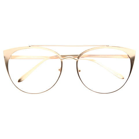 f379750031 Fiona Metal Flat Lens Cat Eye Clear Glasses