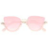 Bella Thorne Style Half Rimmed Color Tint Cat Eye Celebrity Sunglasses