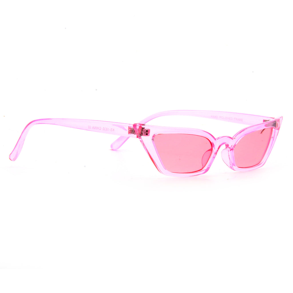 LeSkinny Designer Inspired Transparent 90s Cat Eye Color Tint Sunglasses