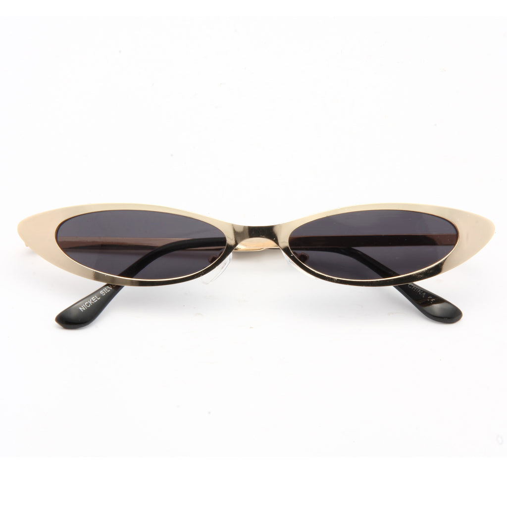 Micco 90s Metal Extreme Oval Cat Eye Sunglasses