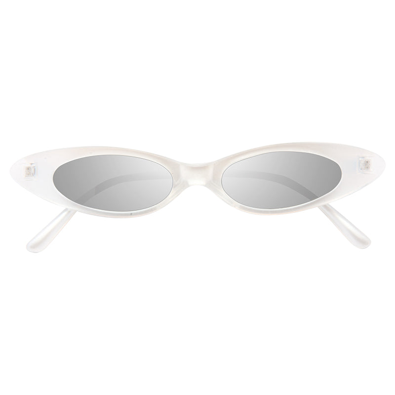 Abie Extreme Oval Silver Mirror 90s Cat Eye Sunglasses