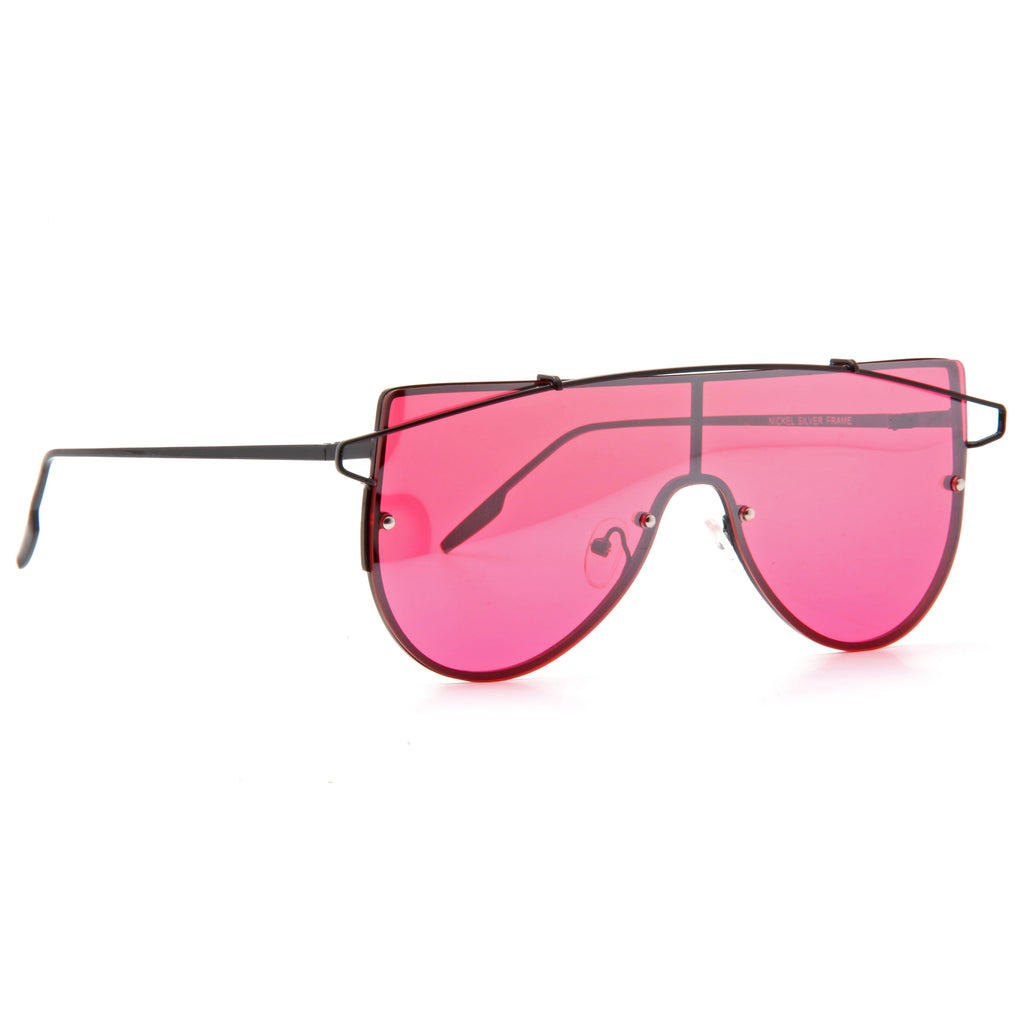 Zhora 2 Designer Inspired Flat Top Color Tint Shield Sunglasses