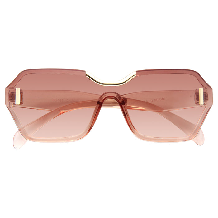 Hide Designer Inspired Semi Rimless Shield Sunglasses