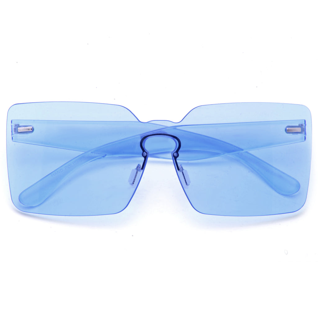 Baldwin Rimless Color Tint Square Shield Sunglasses