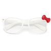 Jude Large Bow Accent Clear Horn Rimmed Glasses