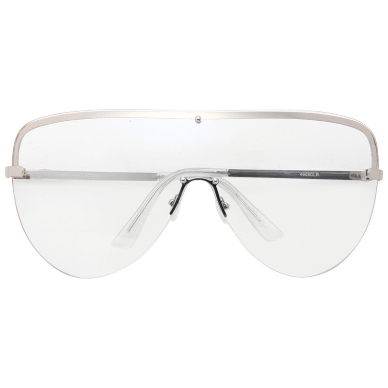 Reeves Oversized Rimless Shield Aviator Clear Glasses