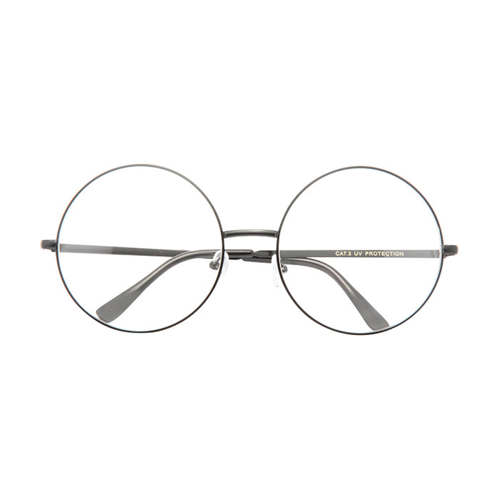 Lennon 6 Oversized Metal Round Clear Glasses