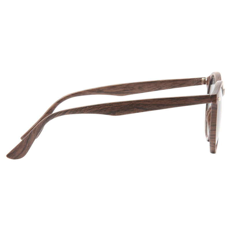 Grayson Wood Grain Oversized Super Dark Round Sunglasses