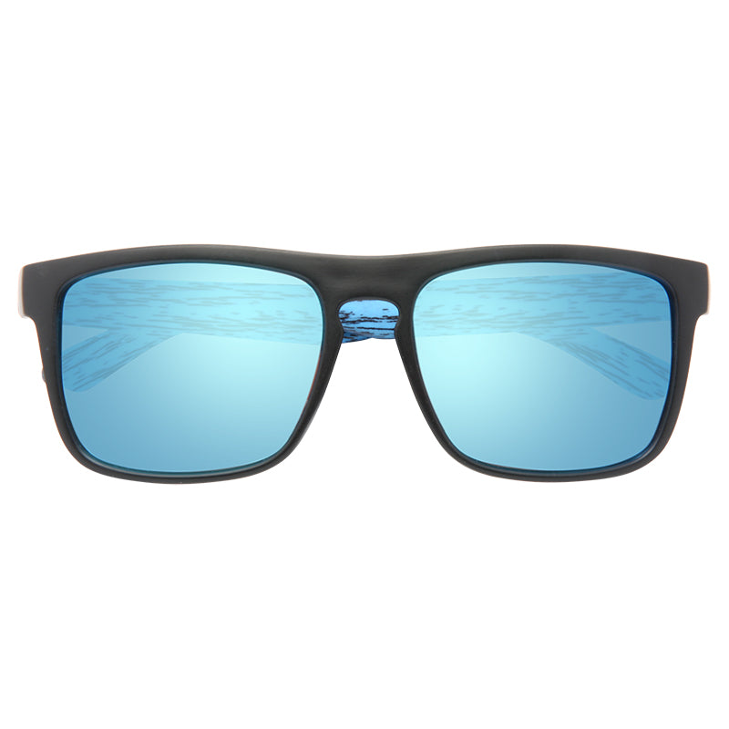 Montier Wood Grain Polarized Color Mirror Flat Top Sunglasses