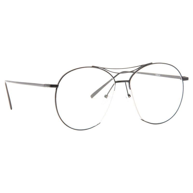 Jumping Jack Designer Inspired Flat Lens Round Clear Glasses