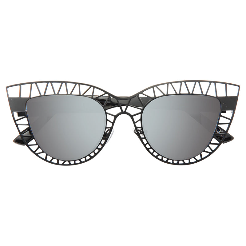 Steel Designer Inspired Cut-Out Cat Eye Sunglasses