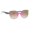 Callery Rimless Color Mirror Shield Cateye Sunglasses