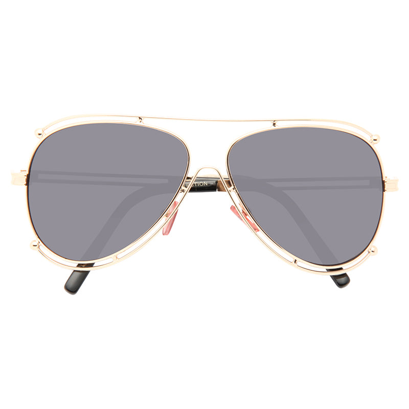 Hendley Oversized 60MM Gold Ball Accent Aviator Sunglasses