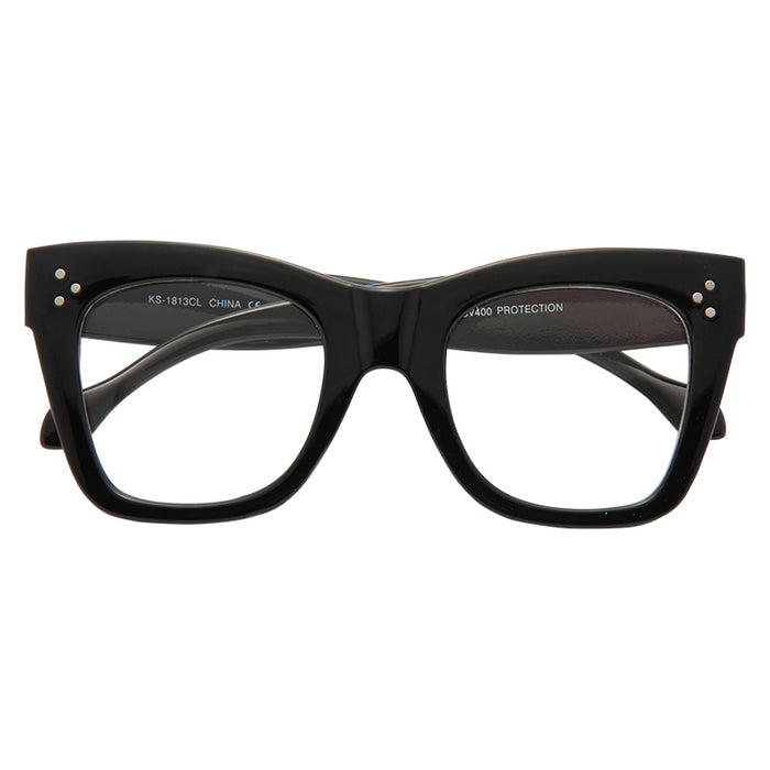 Tilda 2 Oversized Designer Inspired Horn Rimmed Clear Glasses