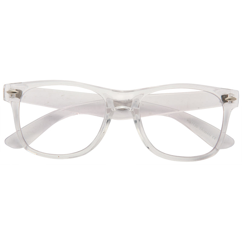 Jude Large Clear Horn Rimmed Lightly Reflective Glasses