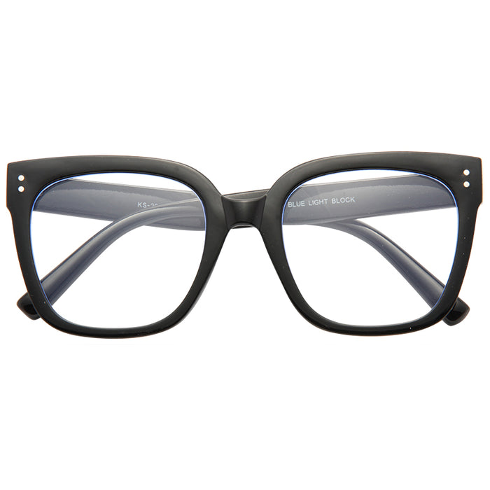 Wadley Blue Light Blocking Clear Horn Rimmed Glasses