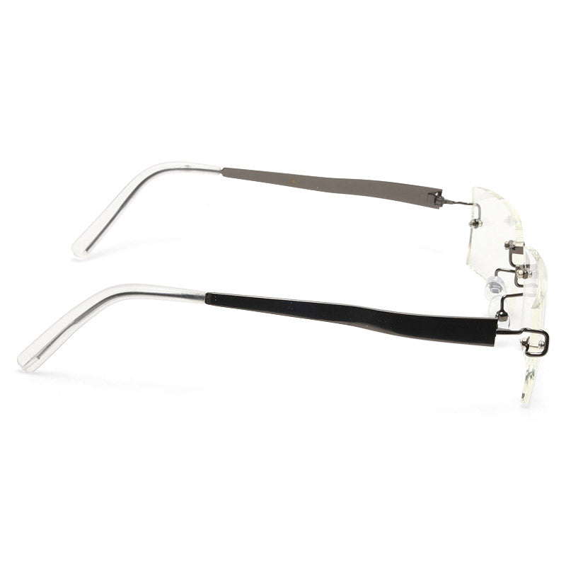 Sarah Palin Style Luxe Rimless Rectangular Celebrity Clear Glasses