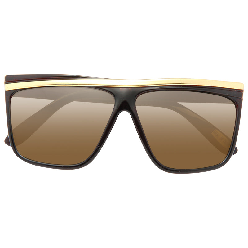 Kids Gold Bar Accent Plastic Horn Rimmed Sunglasses