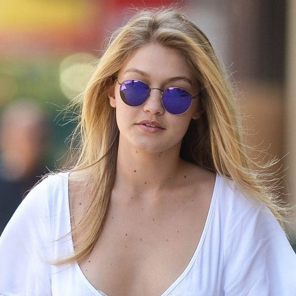 Gigi Hadid Style Metal Rounded Color Mirror Celebrity Sunglasses