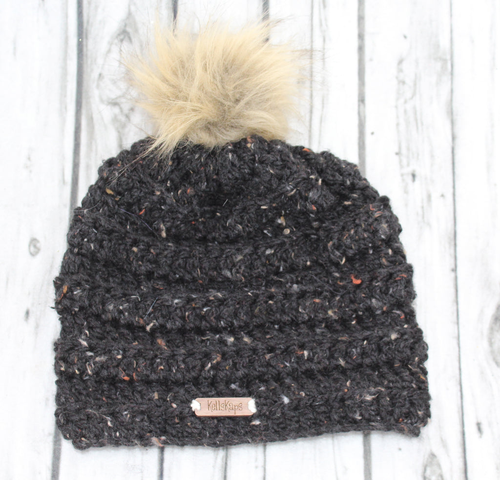 Black Tweed Kells Beanie with Faux Fur Pom