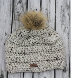 Ivory Tweed Kells Beanie with Faux Fur Pom
