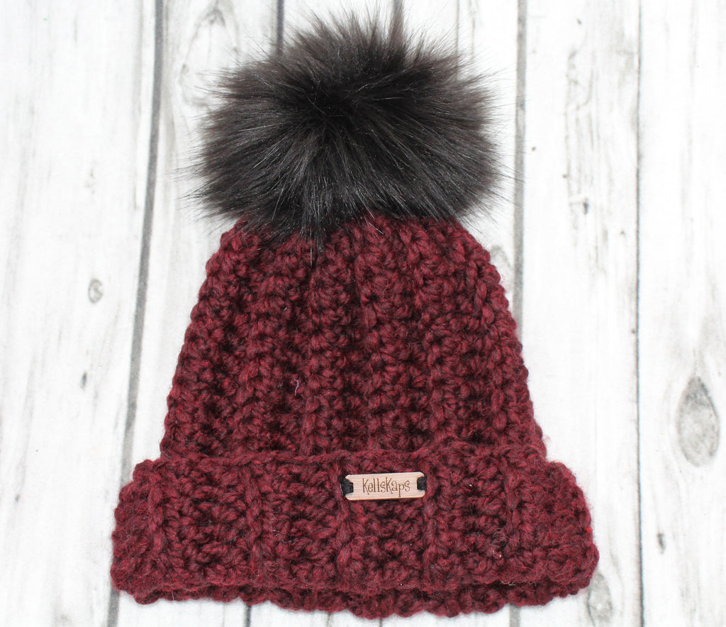 The Mimi Beanie with black Faux Fur Pom
