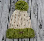 The Mimi Beanie in Ivory with Cilantro accents