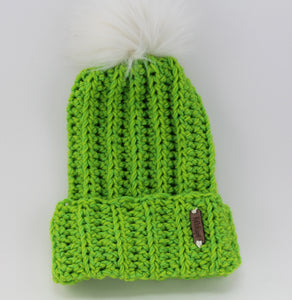 The Mimi Beanie in LightGreen with White Faux Fur Pom