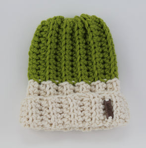 The two-toned Mimi Beanie in Cilantro and Ivory.