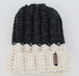 The Mimi Beanie in Dark Gray and Ivory
