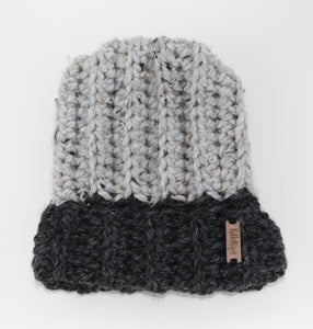 The Mimi Beanie in Dark and Light Gray