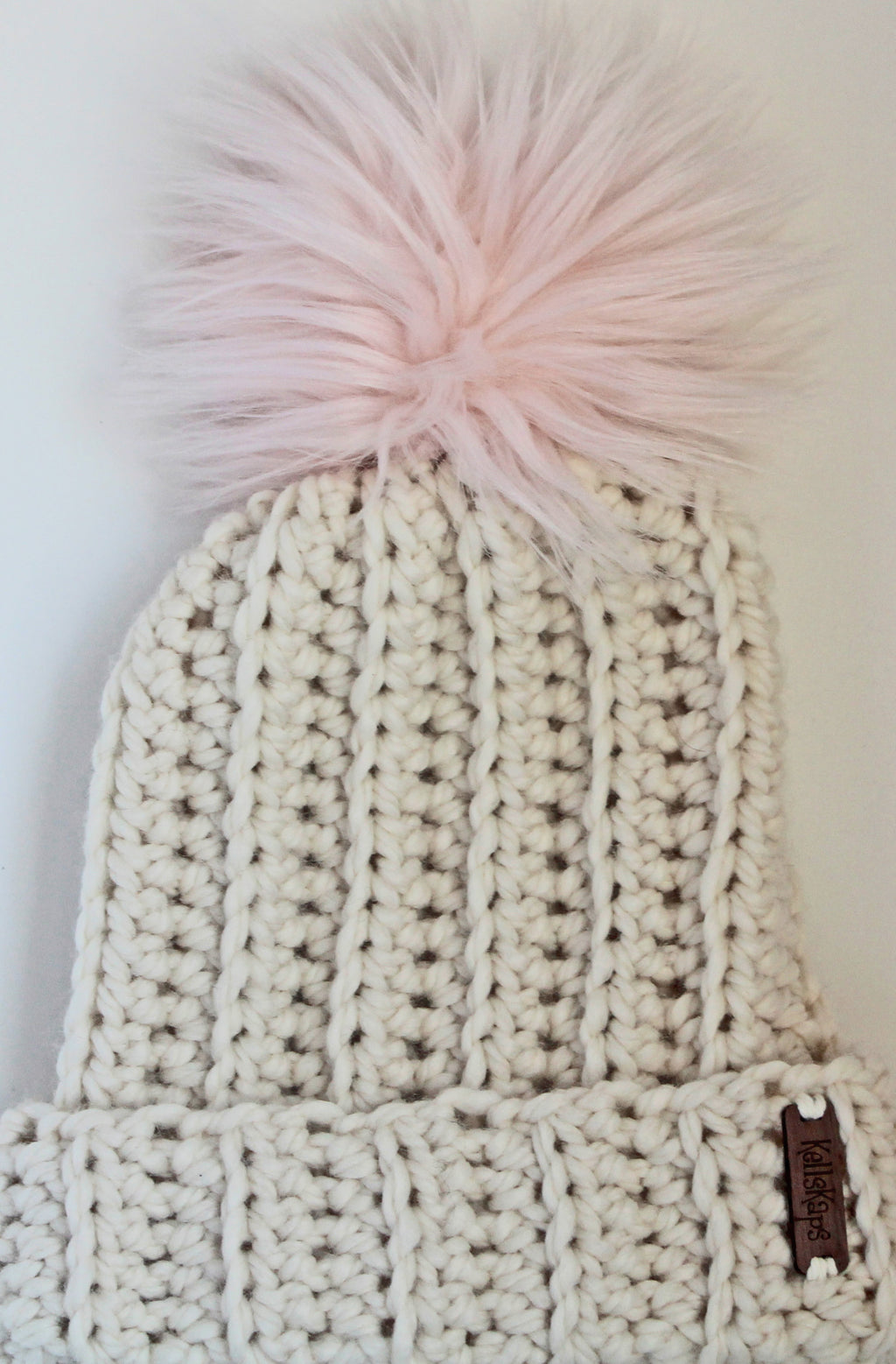 The Mimi Beanie in Ivory with Pink Faux Fur Pom-Pom