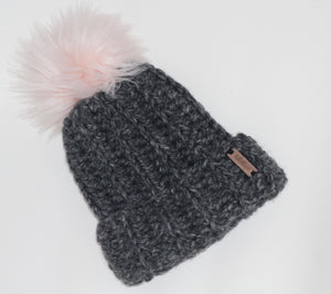 The Mimi Beanie in Grey with Pink Faux Fur Pom-Pom