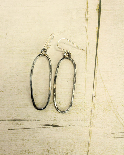 Baja Hammered Earring - thin oval