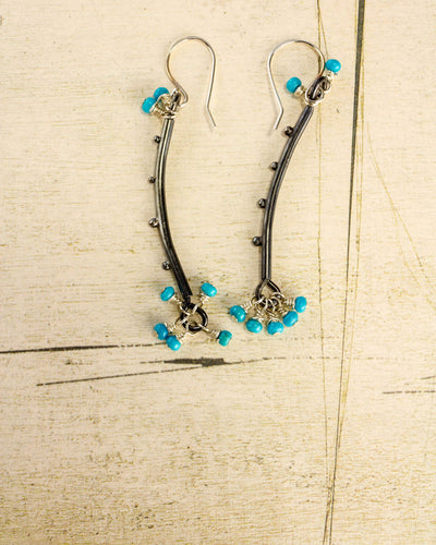 Desert Rain Earrings - Medium length with Turquoise