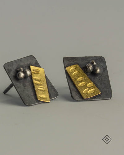 Small Post Earrings with 22K gold #2