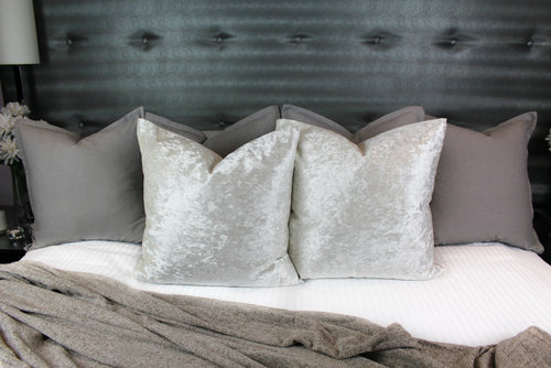 Crushed Velvet Cushion Cover - Pearl White
