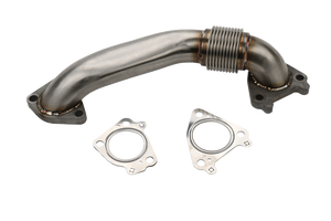 "2001-2016 Duramax 2"" Stainless Single Turbo Style Pass Side Up Pipe for OEM Manifold with Gaskets (WCFab 100654)"