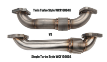 "Load image into Gallery viewer, 2001-2016 Duramax 2"" Stainless Single Turbo Style Pass Side Up Pipe for OEM Manifold with Gaskets (WCFab 100654)"