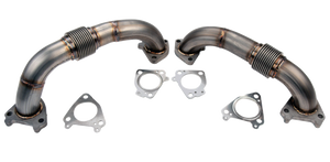 "'01-16 Duramax 2"" Stainless Twin Turbo Up Pipe Kit for OEM Manifolds w/ Gaskets (WCFab 100589)"
