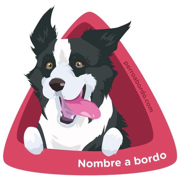 Pegatina Border Collie a bordo personalizada