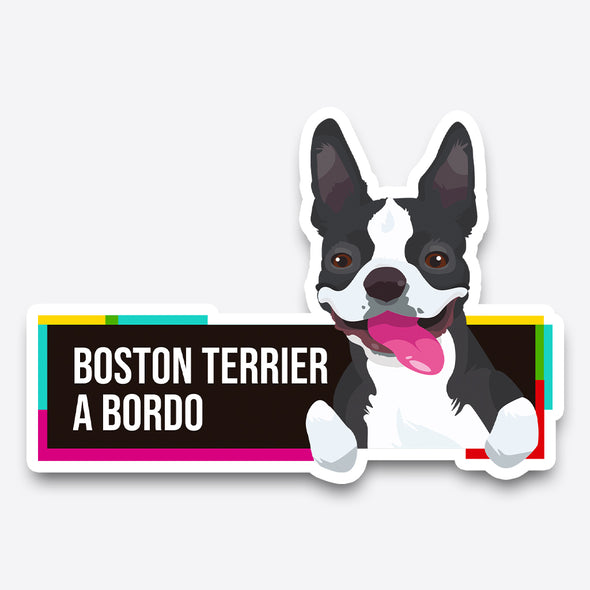 Boston Terrier a bordo - Pegatina - Perro a bordo