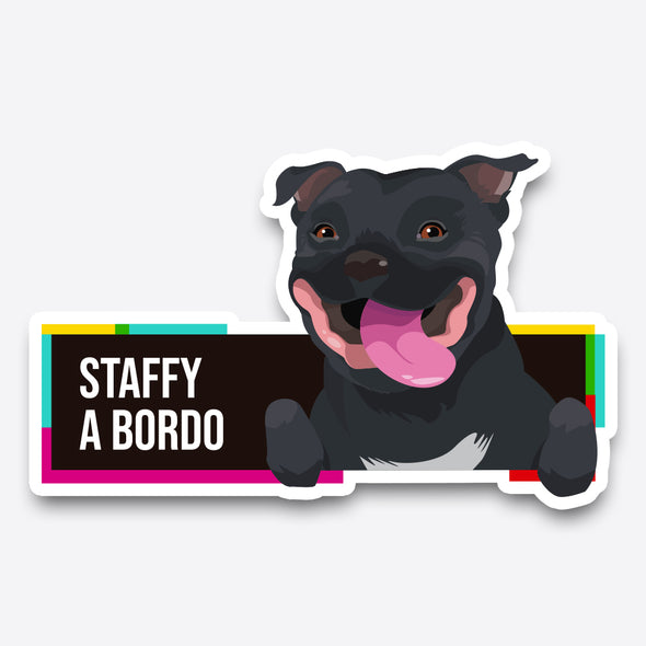 Staffy - Pegatina - Perro a bordo