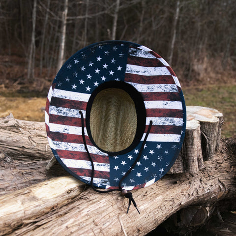 American Flag - Straw Hat