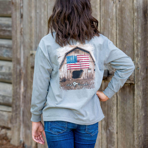 Barn American Flag - Long Sleeve - Youth