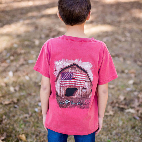 Barn American Flag - Short Sleeve - Youth