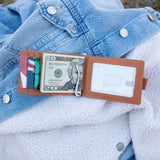 Leather Bi-Fold Money Clip Wallet