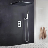 Shower Head Wall Mounted Air Booster Thermostat Rain Shower
