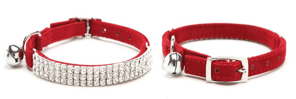 "Diamond Cat Collar ""Be Famous"" - Red"